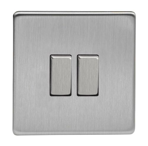 Varilight XDS2S Screwless Brushed Steel 2 Gang 10A 1 or 2 Way Rocker Light Switch